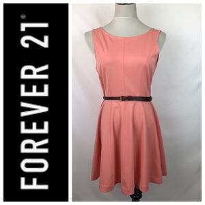 H&M Peach Pink Backless Belted Fit And Flare Dress